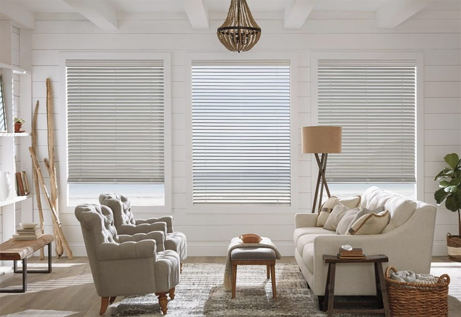 Custom Faux Wood Blinds in Jacksonville, Florida (FL) for Living Rooms With Remote Control Operating System